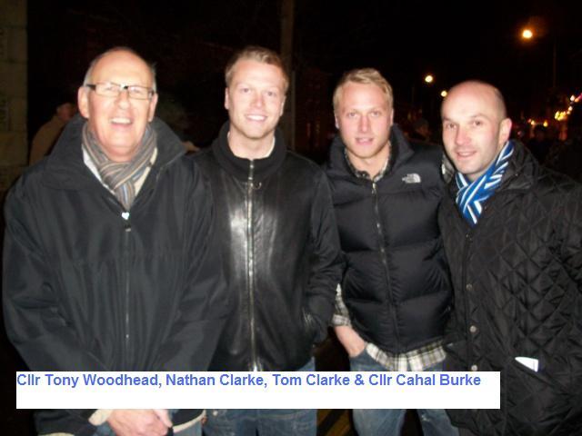 Cllr Tony Woodhead, Nathan Clarke (Huddersfield Town), Tom Clarke (Huddersfield Town) & Cllr Cahal Burke