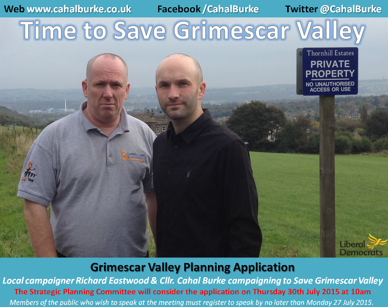 Cllr Cahal Burke campaigning against the proposed Grimescar Valley development.