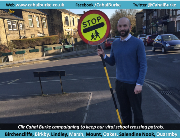 Councillor Cahal Burke (Lib Dem, Lindley) has expressed concern about the uncertainty regarding the future of school crossing patrols