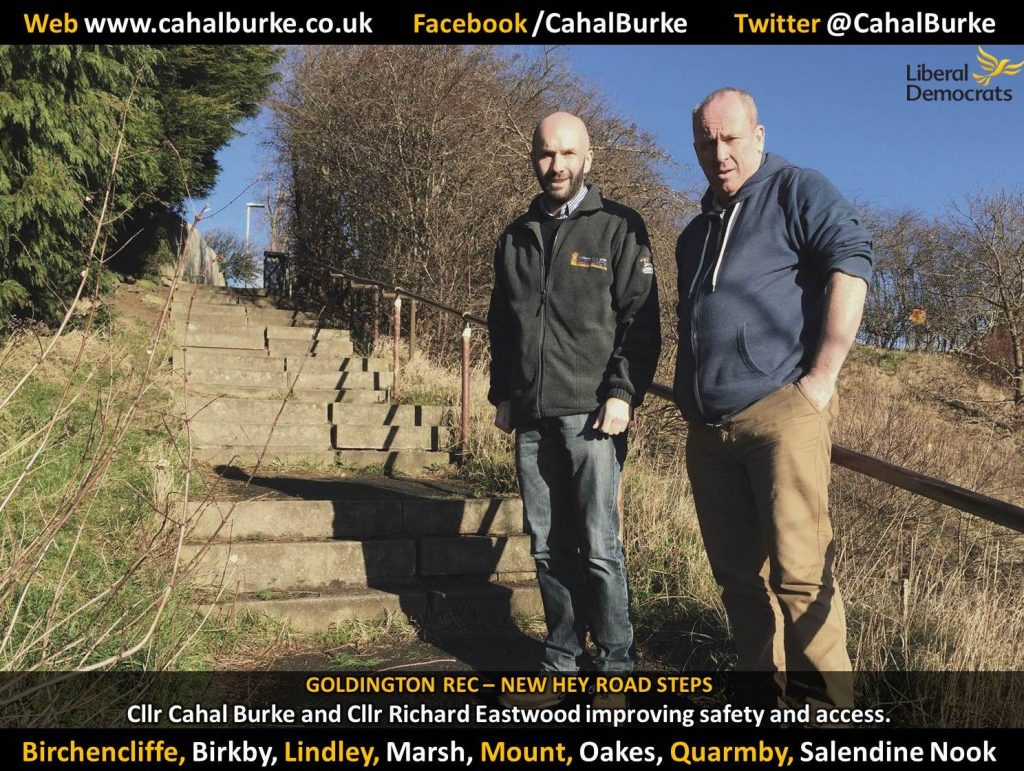 Councillor Cahal Burke (left) and Councillor Richard Eastwood (right) at Goldington Recreation Ground steps