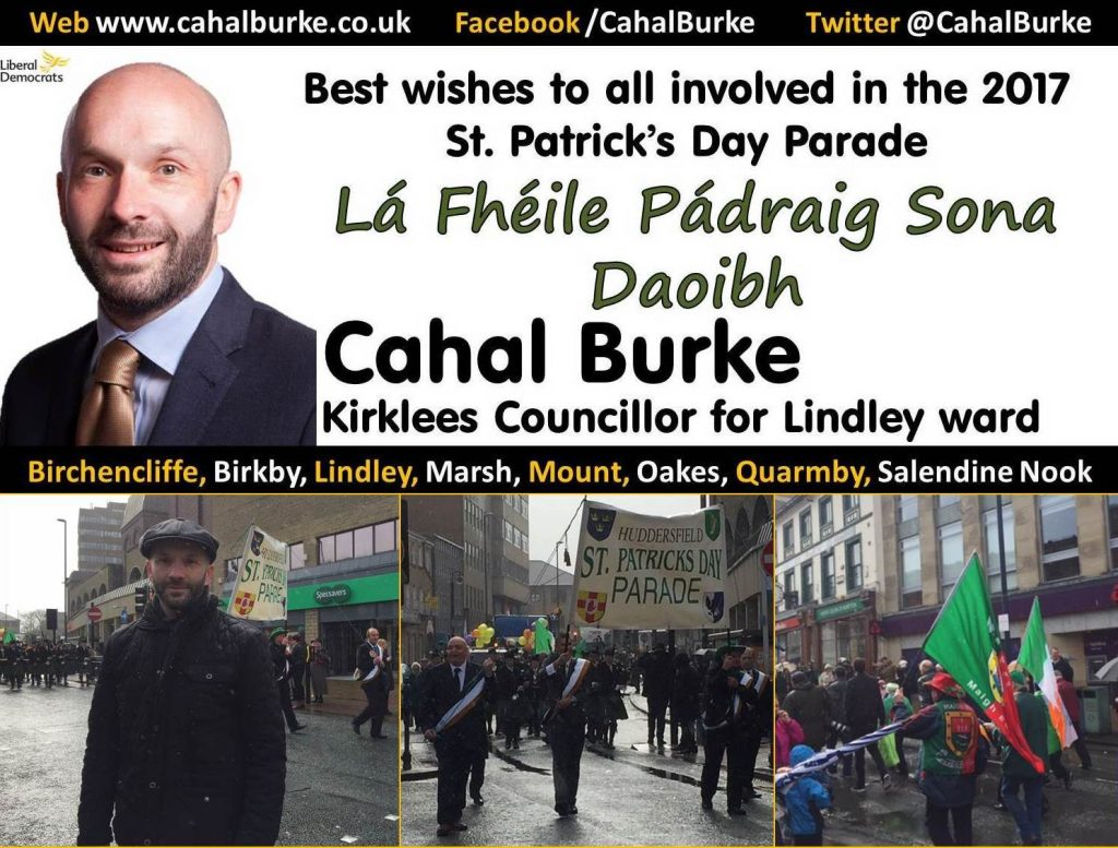 Cllr Burke supporting the Huddersfield St. Patricks Day parade