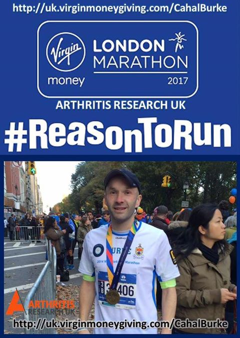 Councillor Cahal Burke will be competing in the London Marathon in aid of Arthritis Research UK