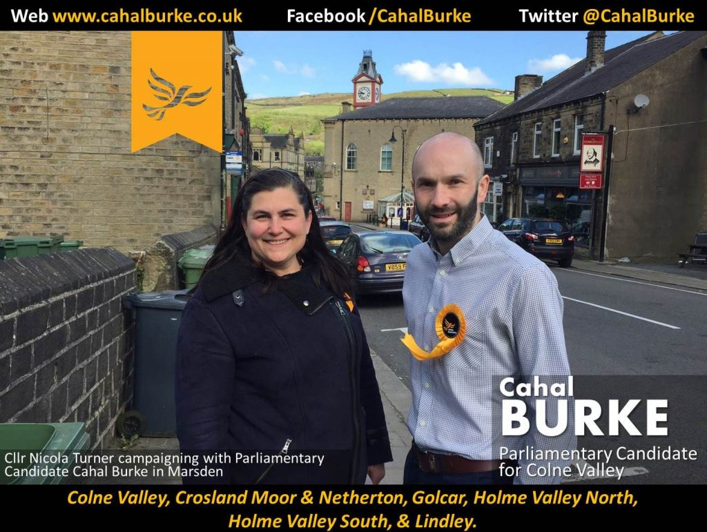 Parliamentary Candidate for Colne Valley Cahal Burke and Cllr. Nicola Turner
